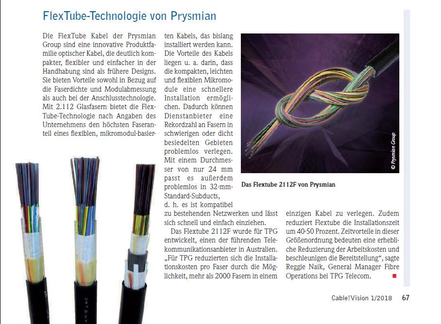 FlexTube Technologie von Prysmian (Quelle CableVision 01/2018)